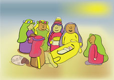 The Three Wise Men. And family. cartoon illustration Stock Photography