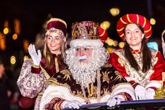 The Three Wise Men arriving public parade stock photo