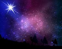 Three wise men on the background of cosmic sky and stars royalty free illustration