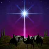 Three wise men in Bethlehem. Three wise men follow the star of Bethlehem. EPS 10, contains trasparency, contains mesh Royalty Free Stock Photography