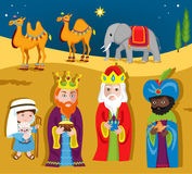 Three Wise Men bring gifts to Jesus on Christmas. Royalty Free Stock Images