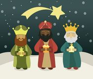 Three wise men bring presents to Jesus Stock Images
