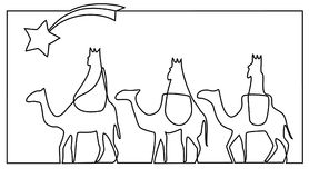 Three wise men bring presents to Jesus. Three Wise Men, the three Kings, Melchior, Gaspard and Balthazar Stock Photo
