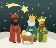 Three wise men bring presents to Jesus. Three Wise Men, the three Kings, Melchior, Gaspard and Balthazar Stock Photos