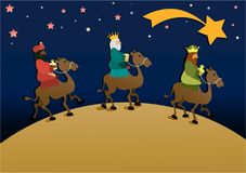 Three wise men bring presents to Jesus. Three Wise Men, the three Kings, Melchior, Gaspard and Balthazar Royalty Free Stock Photos