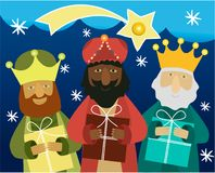 Three wise men bring presents to Jesus. Three Wise Men, the three Kings, Melchior, Gaspard and Balthazar royalty free illustration