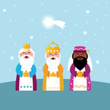 Three wise men bringing gifts. Caspar, Melchior and Balthazar follow the star of Bethlehem. Vector Illustration Royalty Free Stock Photography