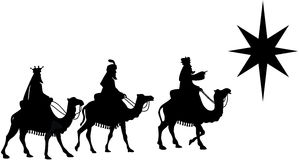 Three Wise Men on Camel Back Silhouette royalty free illustration
