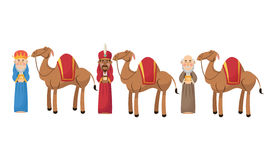 Three wise men cartoon with gift design Stock Image
