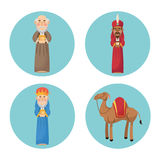 Three wise men cartoon with gift design Stock Photo