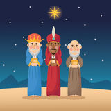 Three wise men cartoon with gift design Stock Photography