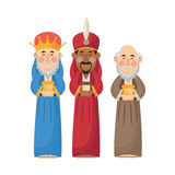Three wise men cartoon with gift design Royalty Free Stock Image
