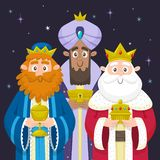 Three Wise Men Chrismas card. Three Wise Men christmas card. Melchior, Gaspard and Balthazar bringing presents for Jesus. Christian nativity concept. Vector stock illustration