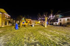 Three Wise Men. In Christmas crib in old square of Italian village Stock Photography