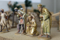 The Three Wise Men. Christmas Nativity Scene: The Three Wise Men, wooden statues. Selective focus Stock Photos