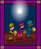 Three wise men. Christmas scene: the three wise men on their way to visit Jesus. See also my portfolio for same style nativity scene. (ID 46067162 Stock Photo