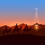 Three wise men and Christmas star. Christmas background with three wise men and shining star, Christian theme, illustration Stock Image