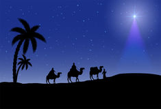 Three wise men and Christmas star. On night background, illustration Royalty Free Stock Photo