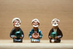 Three wise men clay figures. Three wise men of the East clay figures royalty free stock photo