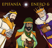 Three Wise Men Delivering Gifts in Epiphany`s Night in Spanish, Vector Illustration. Poster with Biblical Wise Men delivering gifts to Baby Jesus in a night of Royalty Free Stock Images