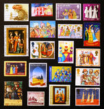 Three Wise Men depicted on several postage stamps. Three Wise Men (or three Kings or Magi) depicted on several postage stamps from different countries stock photography