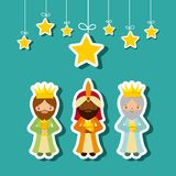 Three Wise Men design. Cartoon cute Three Wise Men with decorative stars hanging over blue background. colorful design. vector illustration Stock Images