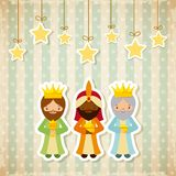 Three wise men design. Cartoon three wise men with decorative stars hanging. merry christmas design. vector illustration Stock Photos