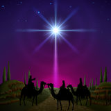 Three wise men. Follow the star of Bethlehem. EPS 10, contains trasparency, contains mesh Royalty Free Stock Photos