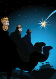 Three Wise Men following the Holy Star. To Bethlehem on Christmas Eve to witness the birth of Christ  vector Christmas greeting card design Royalty Free Stock Photography