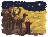 Three wise men following the star of Bethlehem Stock Photos