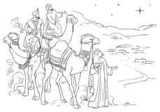Three wise men following the star of Bethlehem. Vector illustration on Christian theme Stock Image