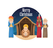 Three wise men with gift and baby jesus design Royalty Free Stock Images