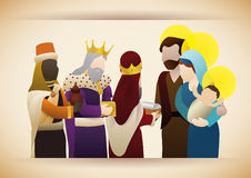 The Three Wise Men with gifts visit the baby Jesus, Vector Illustration. The Wise Men visit the Holy Family and give their gifts to baby Jesus: gold Royalty Free Stock Photos