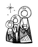 The three Wise Men. Hand drawn vector illustration or drawing of the three biblical wise men royalty free illustration