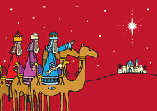 Three Wise Men. A hand drawn vector illustration of the three wise men following the star Royalty Free Stock Photo