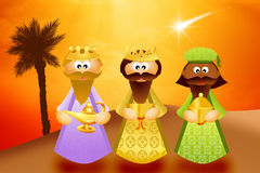Three wise men. Illustration of three wise men cartoon Royalty Free Stock Photography
