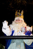 Three Wise Men - Melchior King. Melchior King at the Biblical Magi Three Wise Men parade, who give toys to the children. Is a traditional spanish celebration Royalty Free Stock Image
