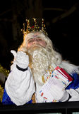 Three Wise Men - Melchior King. Melchior King at the Biblical Magi Three Wise Men parade, who give toys to the children. Is a traditional spanish celebration Royalty Free Stock Images