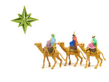 Three Wise Men (Nativity scene). Three Wise Men following a star to Bethlehem stock photo