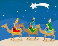 The three wise men of orient. Climbed on camels stock illustration