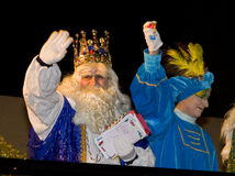 Three Wise Men parade. BARCELONA - JANUARY 5: Melchior King at the parade of the Biblical Magi Three Kings, who give toys to the children. Is a traditional Stock Image