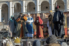 Three Wise Men Parade 2015. Warsaw, Poland - January 6, 2015: Streets of Polish capital during a traditional procession. Epiphany, known as Three Kings Day, is Stock Images