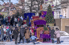 Three Wise Men Parade 2015. Warsaw, Poland - January 6, 2015: Streets of Polish capital during a traditional procession. Epiphany, known as Three Kings Day, is Royalty Free Stock Images