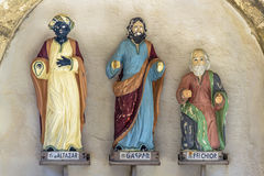 Three Wise Men Sculptures. Front view shot of wooden three wise men sculptures located at Forte dos Reis Magos in Natal, Brazil Stock Photography