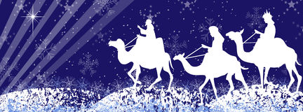 Three wise men silhouette-facebook timeline Royalty Free Stock Photo