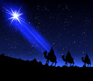The three wise men of the star. Three wise men by a star, vector art illustration Royalty Free Stock Images