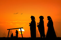 Three wise men at sunset Stock Photography