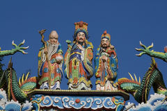 Three Wise Men on Temple. These three men are on a lot of Chinese temples, certainly in Taiwan. Besides them are the claws of dragons royalty free stock photography