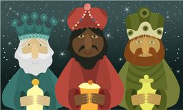 Three wise men bring presents to Jesus. Three Wise Men, the three Kings, Melchior, Gaspard and Balthazar Royalty Free Stock Image