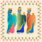 Three wise men or three kings. Nativity illustration Christmas c. Three kings or three wise men. Christmas nativity card illustration Royalty Free Stock Images